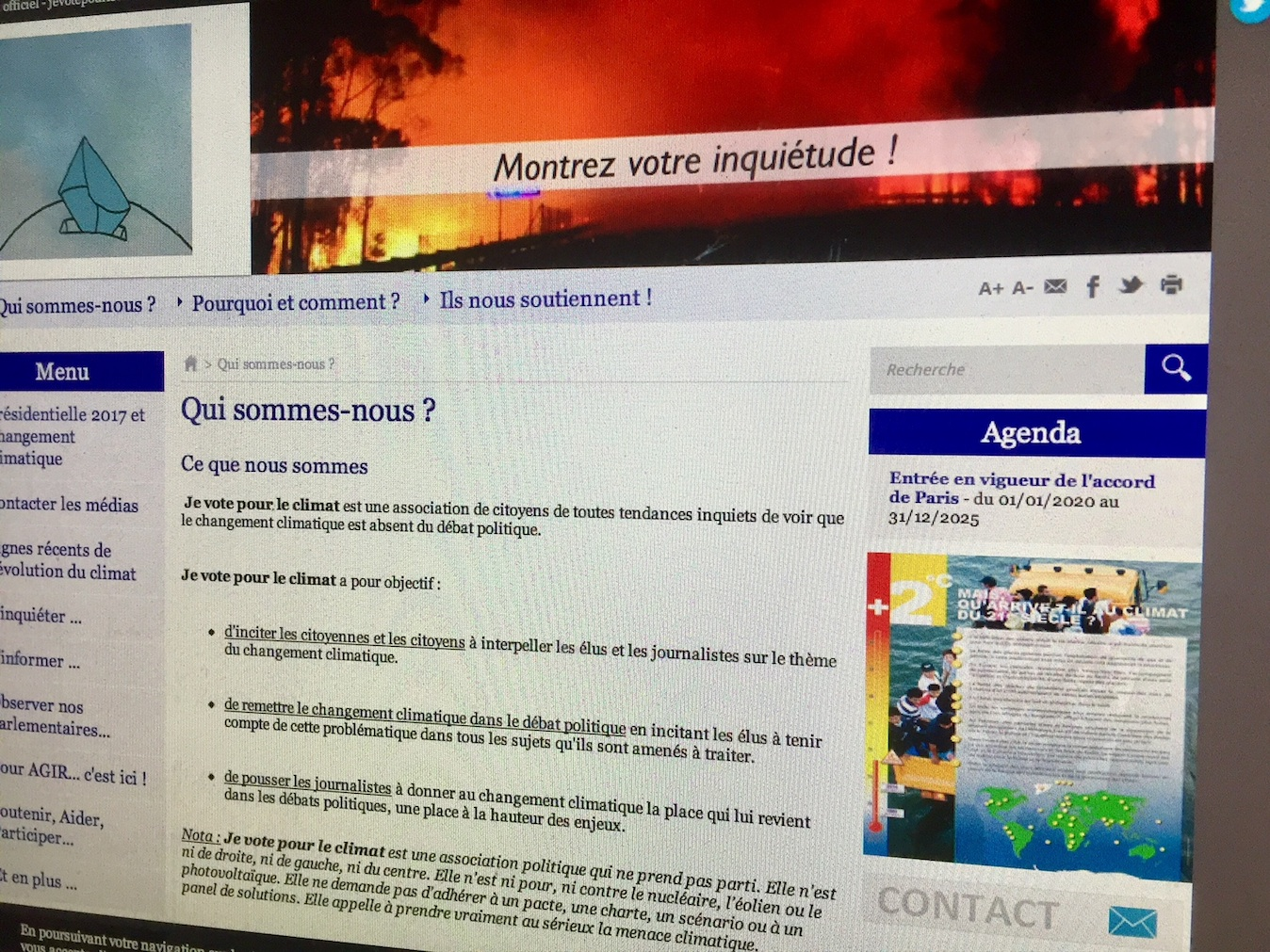 Pourquoi l'association Jevotepourleclimat décide sa dissolution la veille des déclarations de l'OMS et du sommet One Planet Summit?