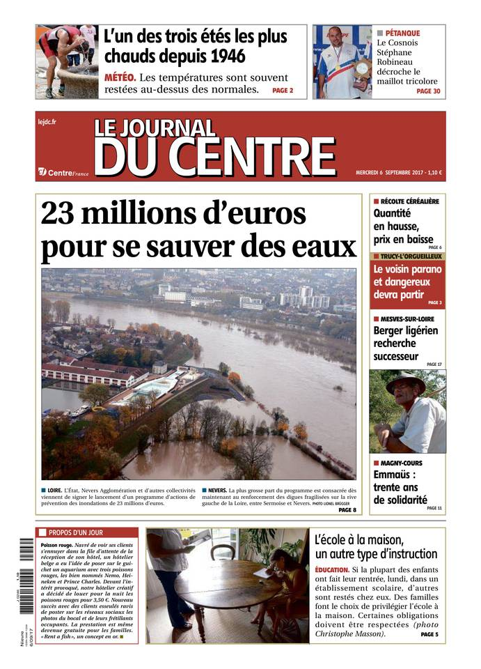Le Journal du Centre , édition du 6 septembre 2017