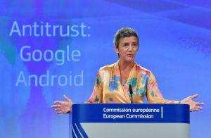 Android: l'Union Européenne sanctionne le groupe Alphabet/Google par une amende record de 4 milliards d'euros pour abus de position dominante dans les systèmes d'exploitation pour smartphones.