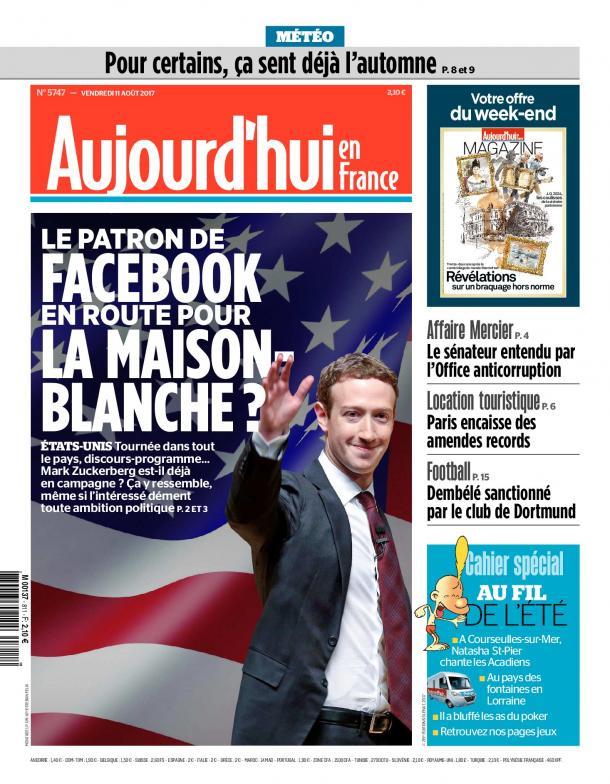 Le quotidien Aujourd'hui en France, Le Parisien du 11 aout 2017