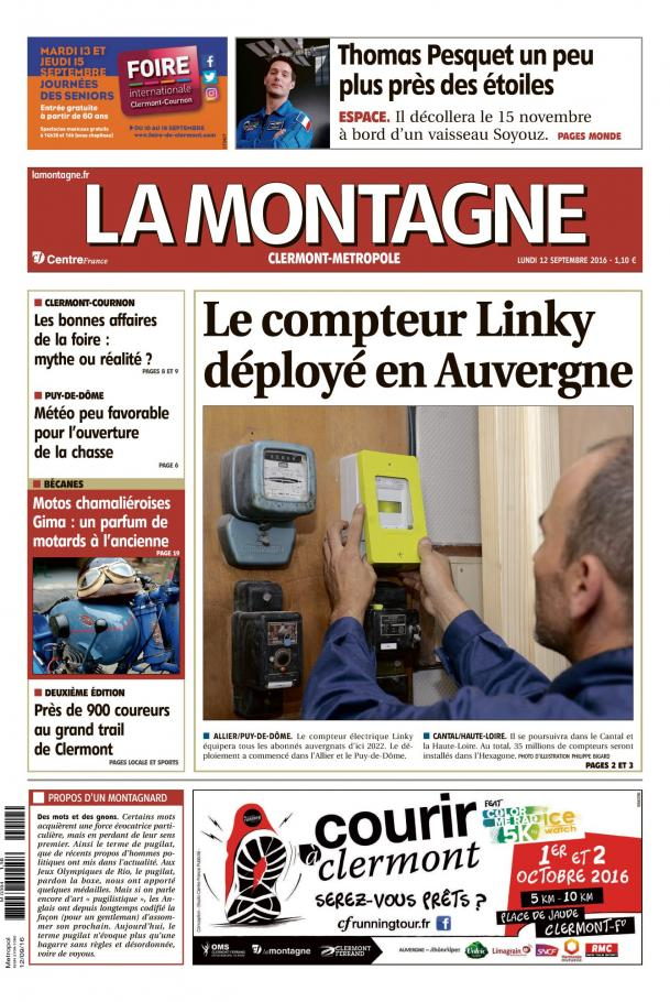 La Montagne: Edition du 12 septembre 2016