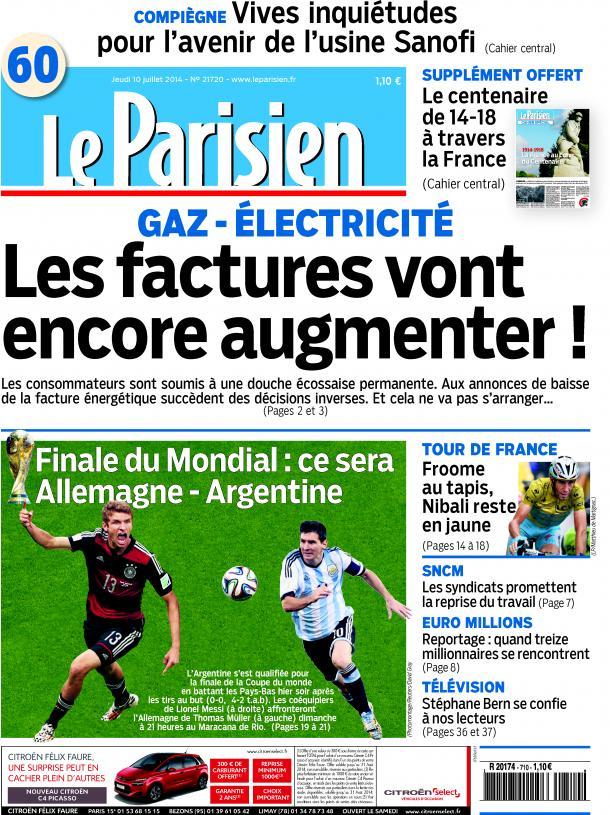 L'édition Le Parisien ,Aujourd'hui en France du 10 juillet 2014