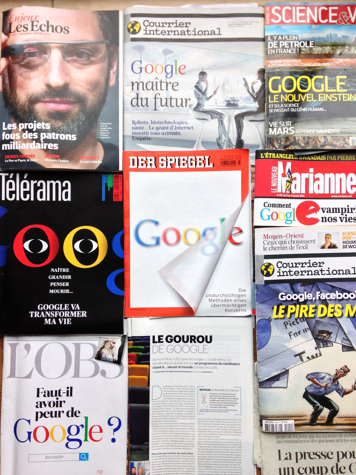 Neuf couvertures de la presse Européenne consacrées à Google