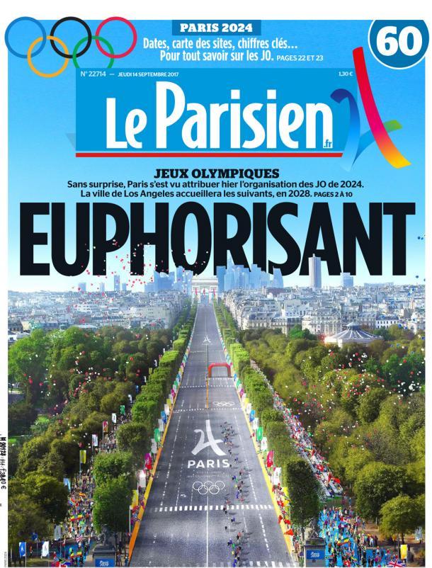 L'édition du Parisien et Aujourd'hui en France du 14 septembre 2017