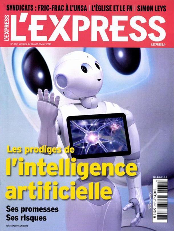 Les robots entrent dans la maison: l'aspirateur, le robot-cuiseur , ce qui est mieux accepté par les français. Davantage que l'intelligence artificielle , à la une de l'Express du 10 février 2016